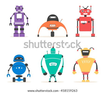 Set of robots. Vintage style. Cartoon vector illustration. Friendly cyborg