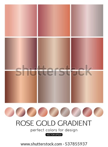 Rose Gold Gradient Collection Fashion Design Stock Vector