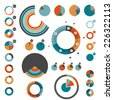 Set of round charts. Various color pie graph.  - stock vector