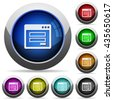 Set of round glossy Login window buttons. Arranged layer structure. - stock photo