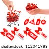 Set of sales tags with red gift bow and shopping carts with sale. Concept of discount. Vector illustration - stock photo