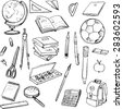 set of school objects, doodle tools for learning, writing utensils and books, hand drawn design elements - stock vector
