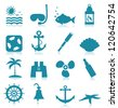 Set of sea icons for design. A vector illustration - stock vector
