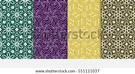 set of seamless floral geometric pattern. For invitation, design wallpaper. Vector illustration.