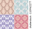 set of seamless floral patterns - stock vector