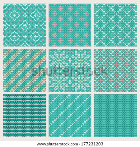 Set of  Seamless Knitting Patterns. Vector illustration