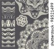 Set of seamless lace borders. Vector brush - stock vector