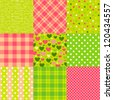 Set of seamless New Year patterns: polka dot, scottish plaid, hearts and other. - stock photo