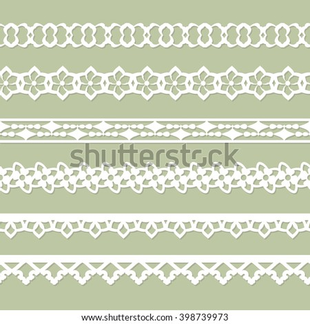 set of seamless paper laces on the green background