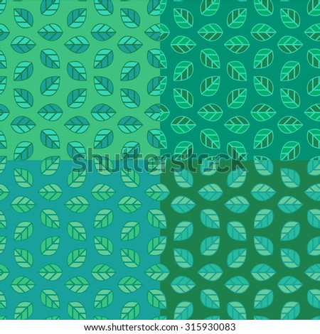 Set of seamless pattern. Composed of leaves.Use a flat four variants of green color.