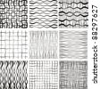 Set of 9 seamless patterns. Monochrome geometrical patterns. Vector - stock vector