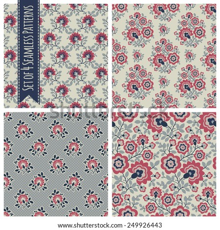 Set of 4 seamless patterns with flowers and floral elements.