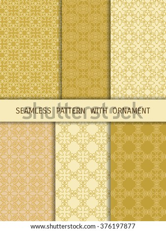 Set of 6 seamless patterns with ornament