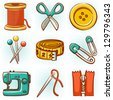 Set of 9 sewing tools icons - stock vector