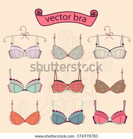 Set of  sexy vintage different female fashion bra icons.