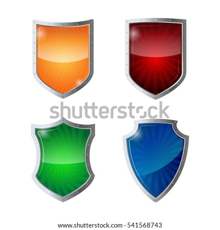 Set of shields protection, web security, antivirus logotype concept. Reflection glossy green, orange, blue, yellow red shields in chrome frames. Safeguard policy defence sign vector illustration