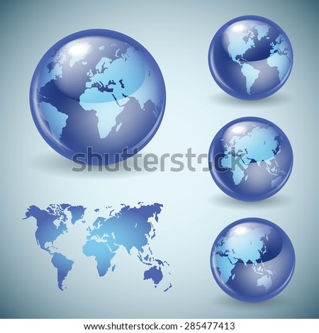 Set of shiny glass world globes