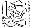 set of shoes silhouettes, vector sketch in simple black lines - stock vector