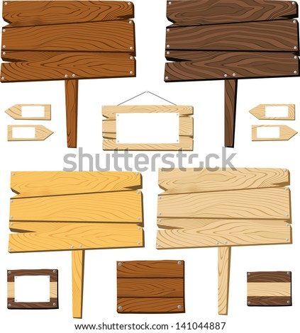 set of signboards and wooden objects isolated on white background, useful for many applications, in vector format very easy to edit, individual objects