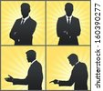 Set of Silhouette business man. Vector design.  - stock photo