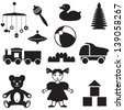 Set of silhouette images of children's toys - stock vector