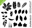 Set of silhouette leaves vector - stock photo