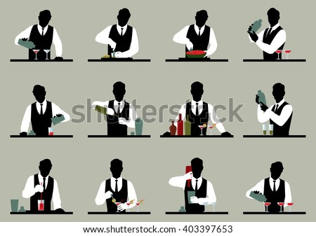 Set of silhouettes of a bartender prepares cocktails Stock vector illustration