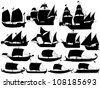 set of silhouettes of ancient sail boats - stock vector