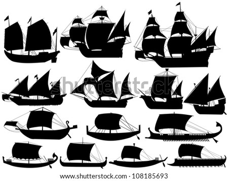 set of silhouettes of ancient sail boats