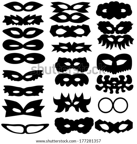 set of silhouettes of carnival masks