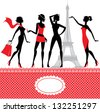 Set of silhouettes of fashionable girls on a white background. - stock vector