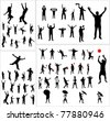 Set of silhouettes of sports fans, dancers and people involved in sports - stock photo