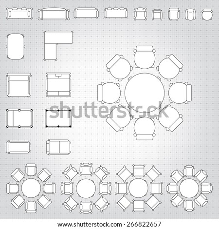 Set simple 2d flat vector icons stock vector 378037753 shutterstock set of simple 2d flat vector icons furniture for floor plan outline on blueprint technical grid malvernweather Choice Image