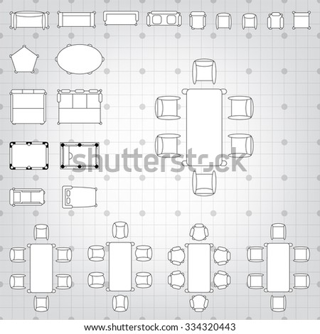 Home furniture top view stock vector 534349993 shutterstock set of simple 2d flat vector icons furniture for floor plan outline on blueprint technical grid malvernweather Choice Image