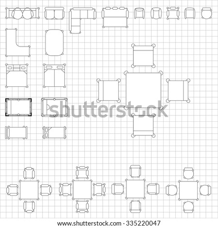 Set simple 2d flat vector icons stock vector 266817653 shutterstock set of simple 2d flat vector icons furniture for floor plan outline on blueprint technical grid malvernweather Choice Image