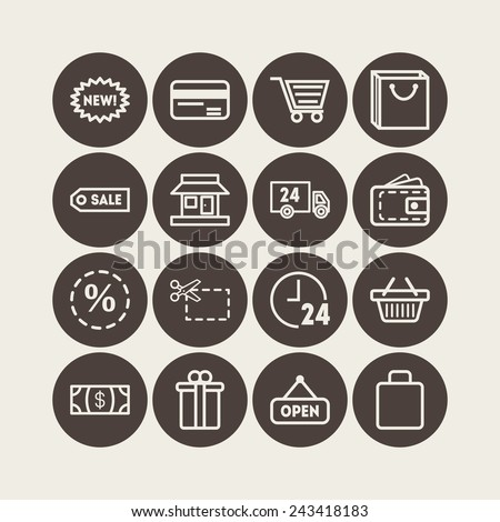 Set of simple icons for shop, market, bank and commerce