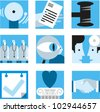 Set of simple icons to illustrate concepts of health care, legal, business, etc. - stock photo