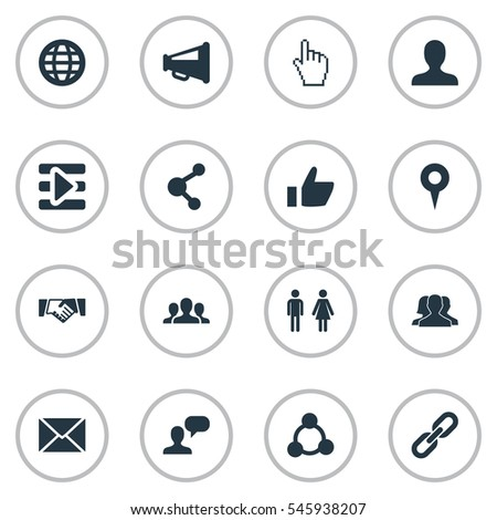 Set Of 16 Simple Media Icons. Can Be Found Such Elements As Letter, Group, Media Control And Other.