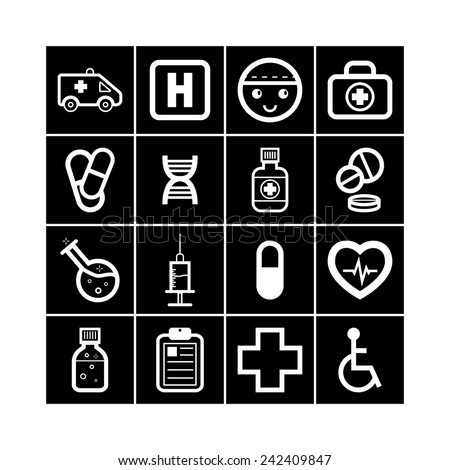 Set of simple medical icons