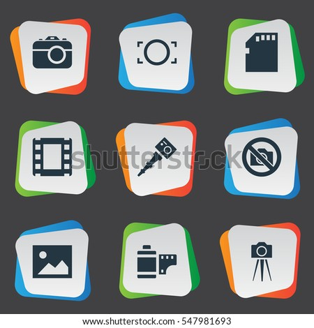 Set Of 9 Simple Photographic Icons. Can Be Found Such Elements As Photograph, Movable Camcorder, Rim And Other.