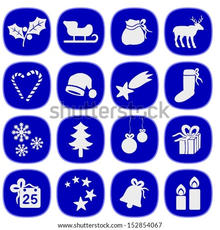 Set of simple xmas icons in blue and silver colors. This is a vectorial image, can be resized without loss of quality.