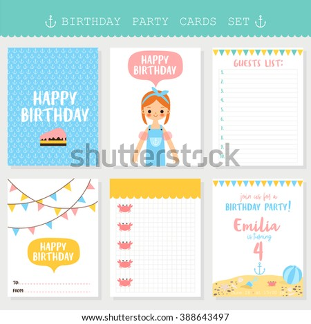 Set Six Birthday Cards Notes Labels Vector 388643512 – Birthday Cards Notes