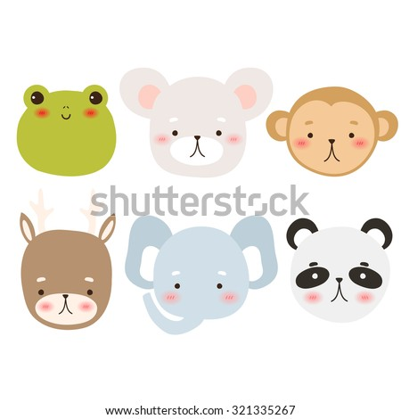 set of six cute cartoon animal character on white background. cute frog, mouse, monkey, deer, elephant and panda. can be used for greeting cards and party invitations