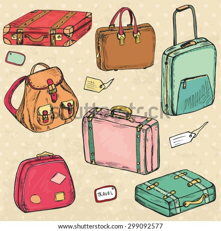 Set of sketch hand drawn retro suitcases