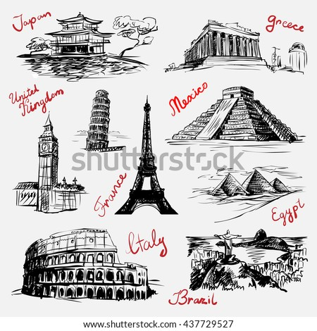 Set of sketchy style drawn isolated illustrations of world famous landmarks (vector)
