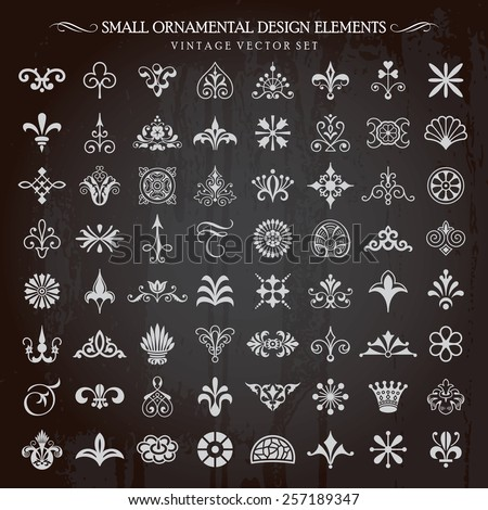 Set of small ornamental design elements vintage floral swirls vignettes and page decoration vector