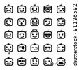 Set of 25 smiley faces. men characters - stock photo