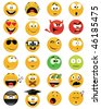 Set of smiley faces - vector illustrations - stock photo