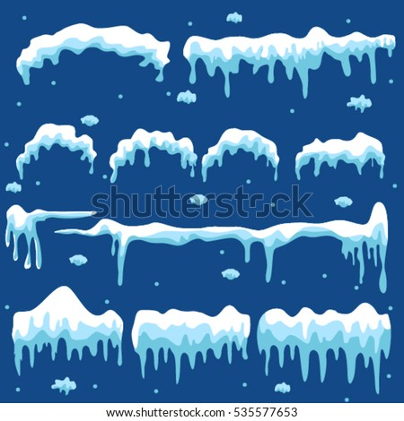 Set of snow design element on blue background