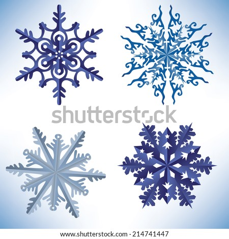 Set of snowflakes in origami style